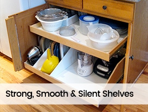 strong smooth roll-out shelving